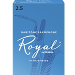 RICO ROYAL BARITONE SAX REEDS 2.5, BOX OF 10