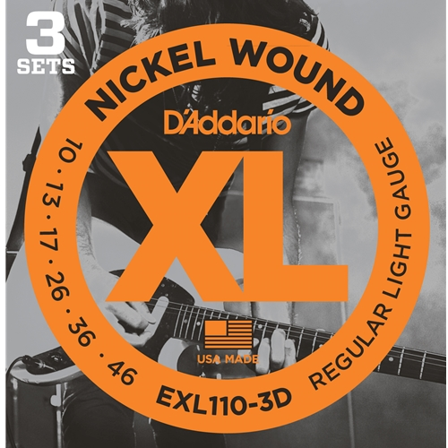 D'ADDARIO NICKEL WOUND ELECTRIC GUITAR STRINGS, REGULAR LIGHT, 10-46, 3 SETS